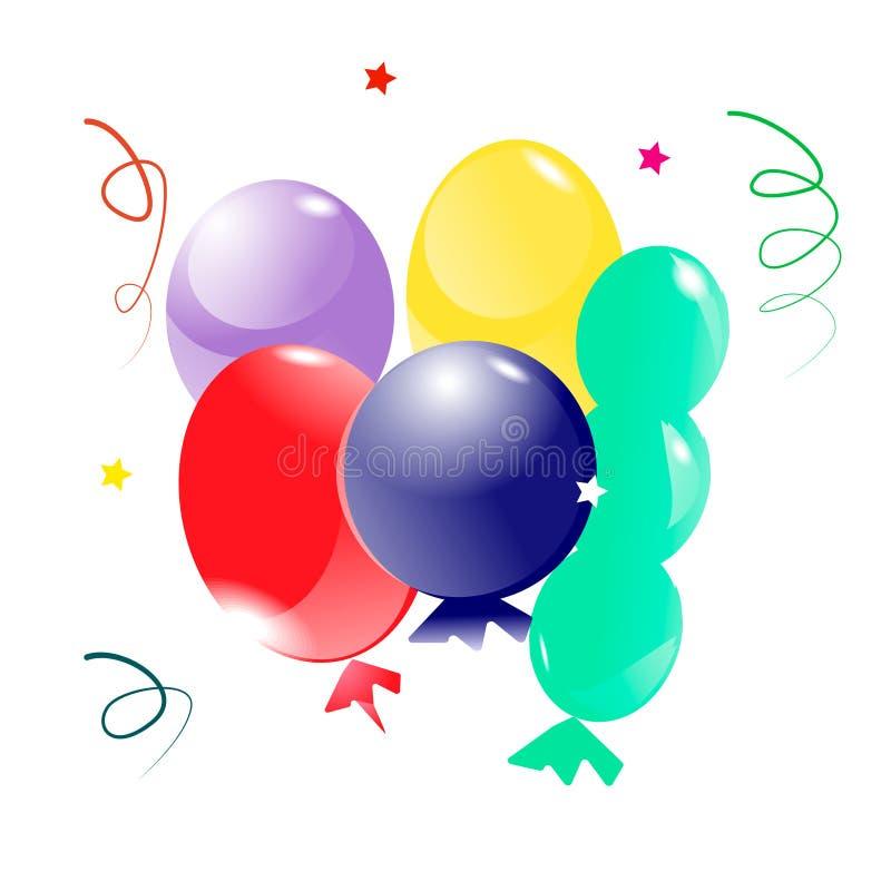 Установите воздушных шаров для дня рождения и конфеты бесплатная иллюстрация