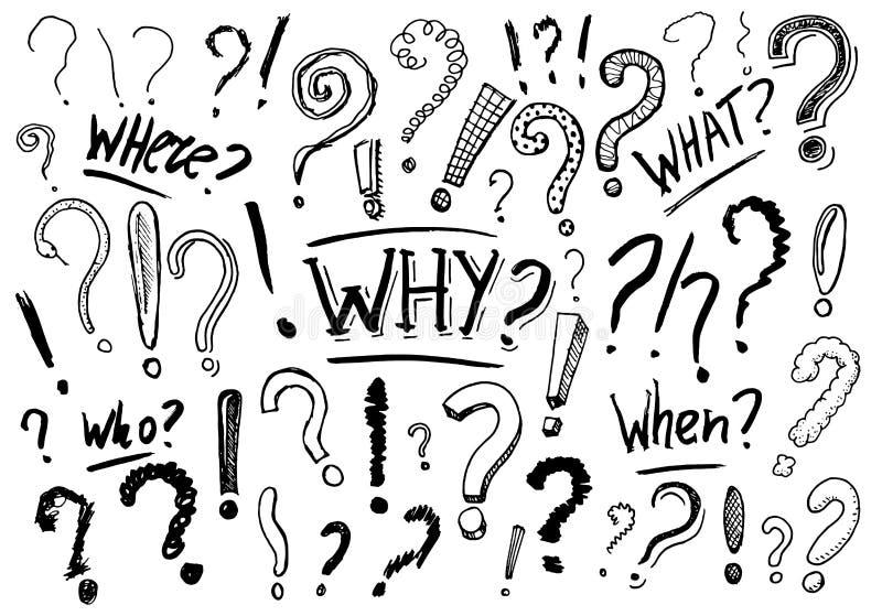 Установите вопросительного знака Doodle тип Собрание значков и знаков почему Выгравированный эскиз нарисованный рукой Абстрактный иллюстрация вектора