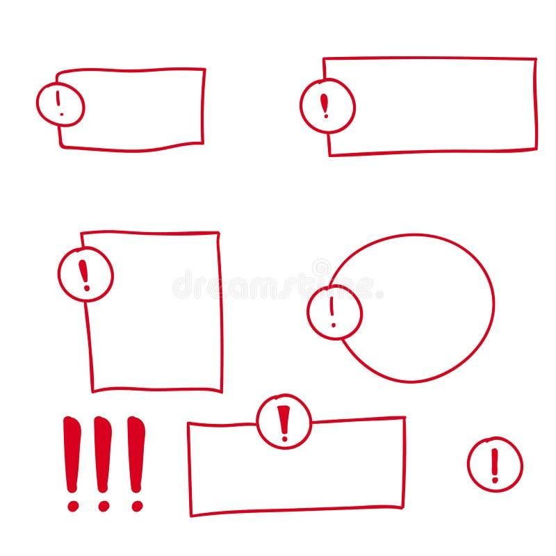 Установите восклицательный знак нарисованный рукой иллюстрация штока