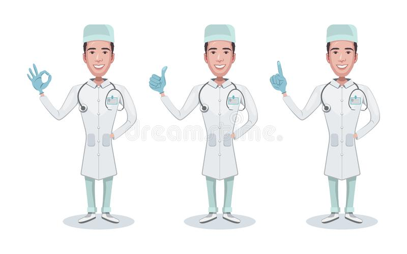 Установите врача характера Doc держит шприц Здравоохранение и медицинская помощь Доктор, советуя с, показывает жесты позитва иллюстрация штока