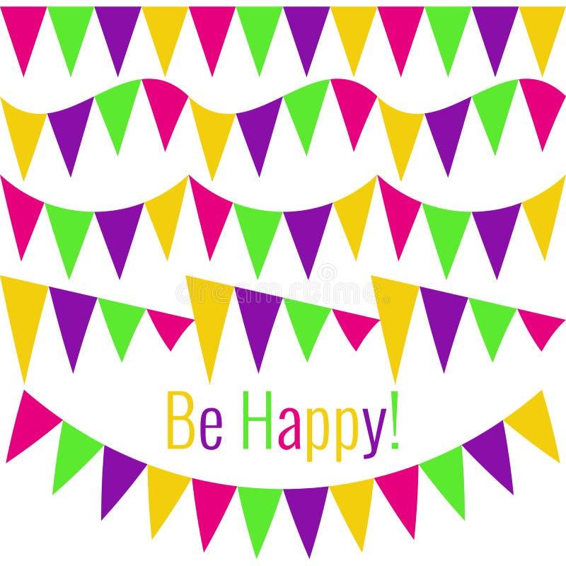 Установите гирлянд флага партии Текст счастлив! Чертеж вектора для дизайна карт, плакатов, поздравительых открыток ко дню рождени бесплатная иллюстрация