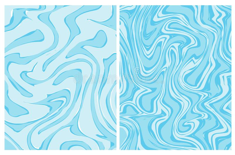 Установите 2 голубых геометрических предпосылок вектора Абстрактный мрамор бесплатная иллюстрация