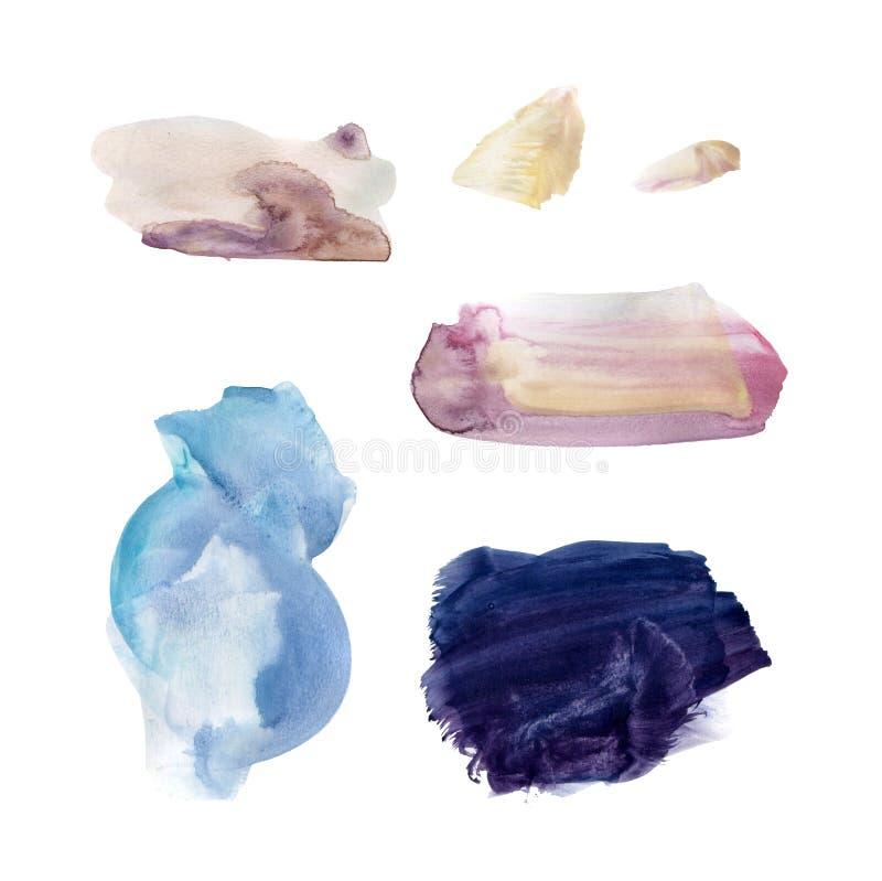 Установите голубых и пурпурных пятен акварели иллюстрация штока