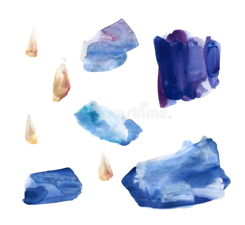 Установите голубых и пурпурных пятен акварели иллюстрация вектора