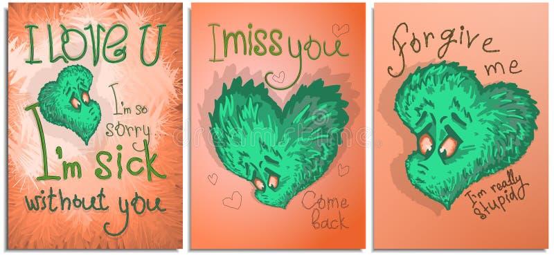 Установите графиков открытки, плакатов, на счастливый день Валентайн Сердце яркого мультфильма цвета грустное иллюстрация вектора