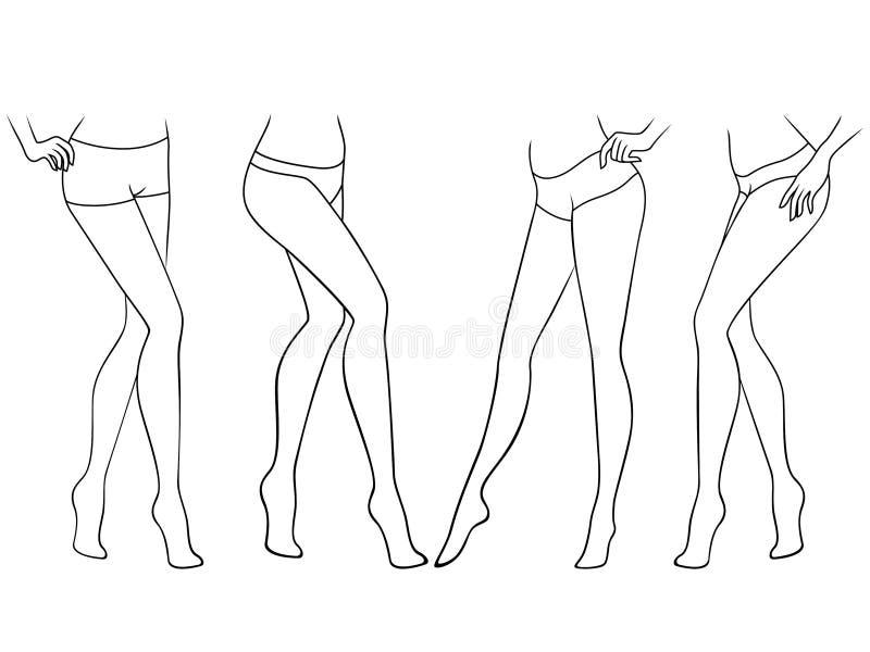 Установите грациозных женских босоногих ног бесплатная иллюстрация