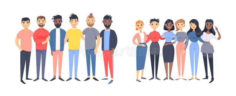 Установите группы в составе различные люди и женщины Характеры стиля мультфильма различных гонок, рода Кавказец иллюстрации векто бесплатная иллюстрация