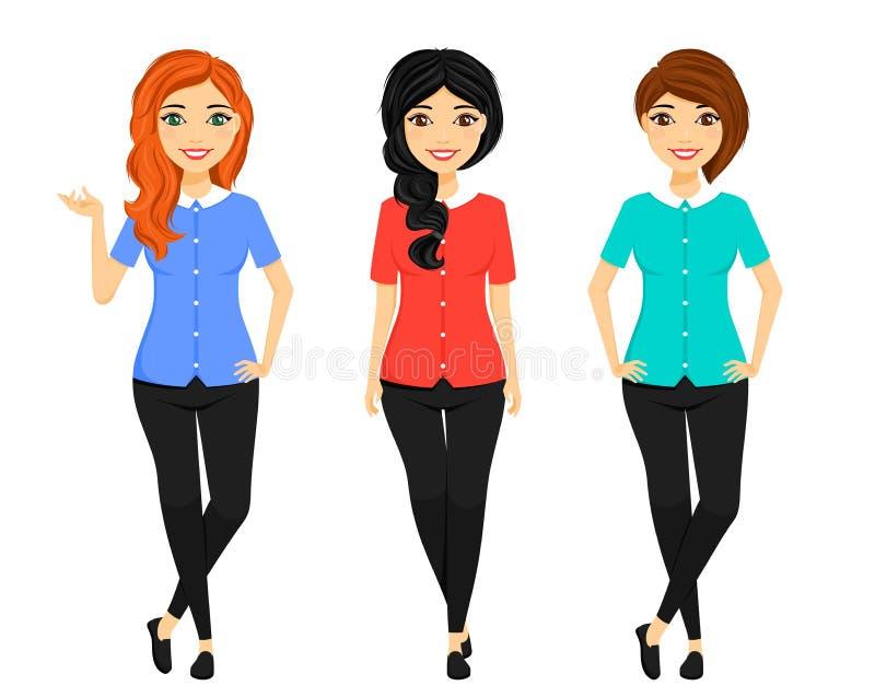 Установите, девушки с различными стилями причесок и различный цвет волос В различных представлениях Конторская работа Дело и фина стоковая фотография rf