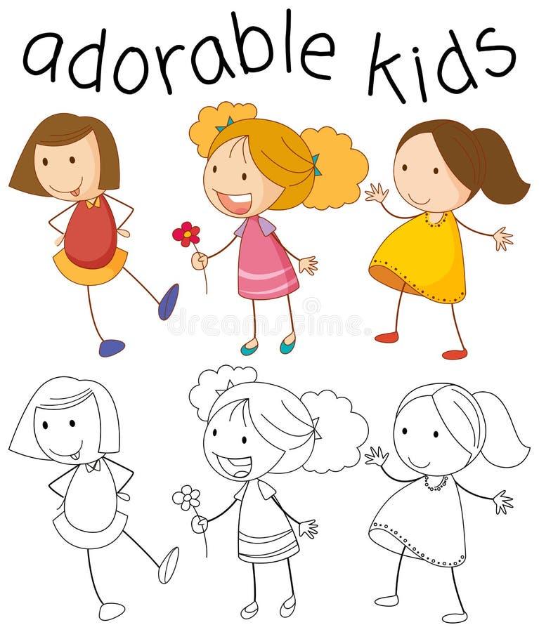 Установите девушки doodle бесплатная иллюстрация