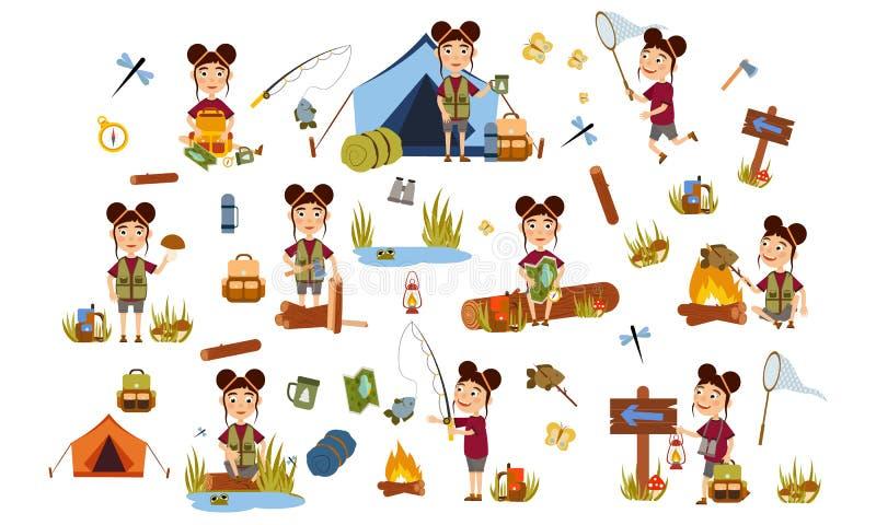 Установите девушку со стилем причесок 2 больших лучей туристский на природе Располагаться лагерем иллюстрация вектора