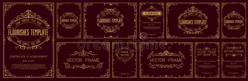 Установите декоративных винтажных рамок и границ набора, рамки фото золота с углом бесплатная иллюстрация