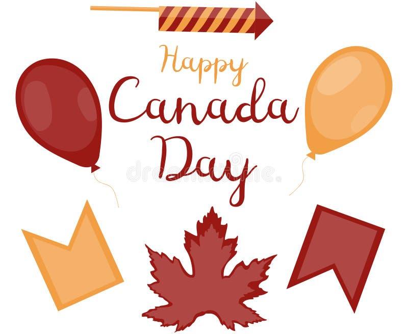 Установите декоративных объектов на день Канады Красный воздушный шар, желтый воздушный шар, эмблема революции, желтый флаг, пиро иллюстрация штока
