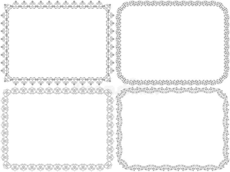 Установите 4 декоративных флористических рамок иллюстрация вектора