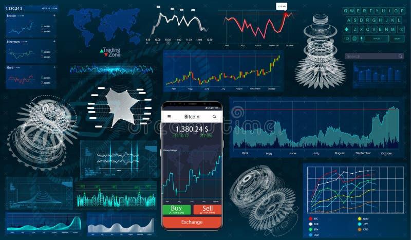 Установите диаграммы и диаграммы HUD UI для дела app иллюстрация вектора