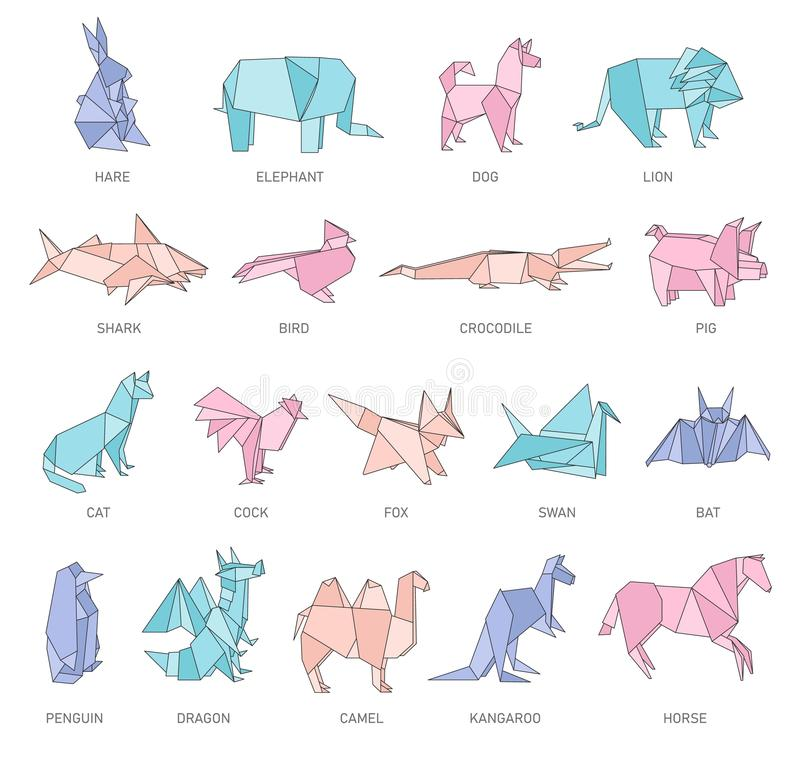 Установите диаграмм origami животных в геометрическом плоском стиле плана бесплатная иллюстрация