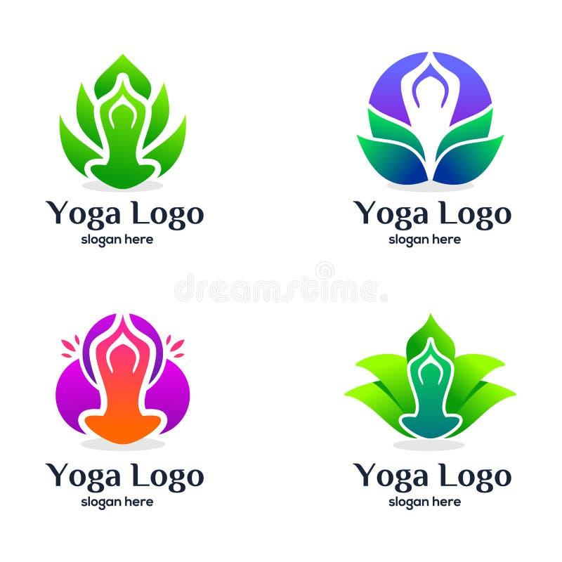 Установите дизайна логотипа йоги и красоты иллюстрация вектора