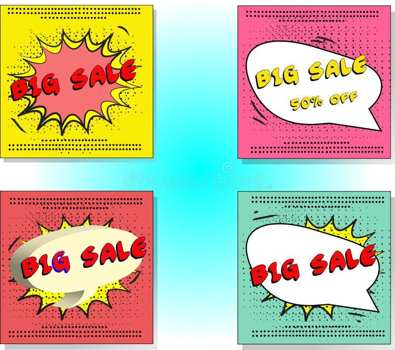 Установите дизайнов вектора продажи с социальными знаменами средств массовой информации, рекламным материалом дизайнов в продаже  иллюстрация штока