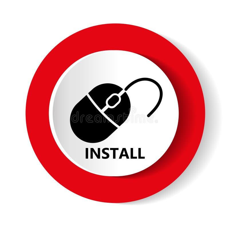 Установите дизайн значка вектора современный красных и белых порта и кнопок сети для передвижных применений бесплатная иллюстрация