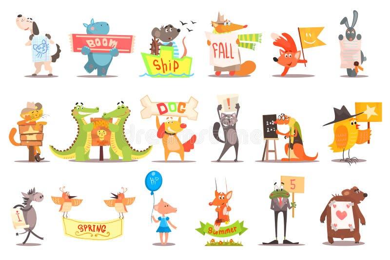 Установите диких животных и отечественных любимцев с различными сообщениями Смешные твари мультфильма Плоский дизайн вектора для  иллюстрация вектора