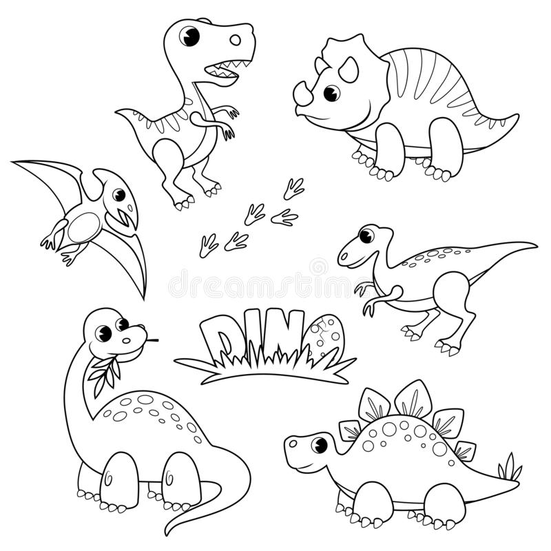 Установите динозавров мультфильма Милый dino o иллюстрация вектора