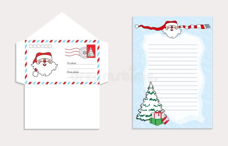 Установите для конверта рождества для письма к Санта Клаусу, иллюстрации вектора бесплатная иллюстрация