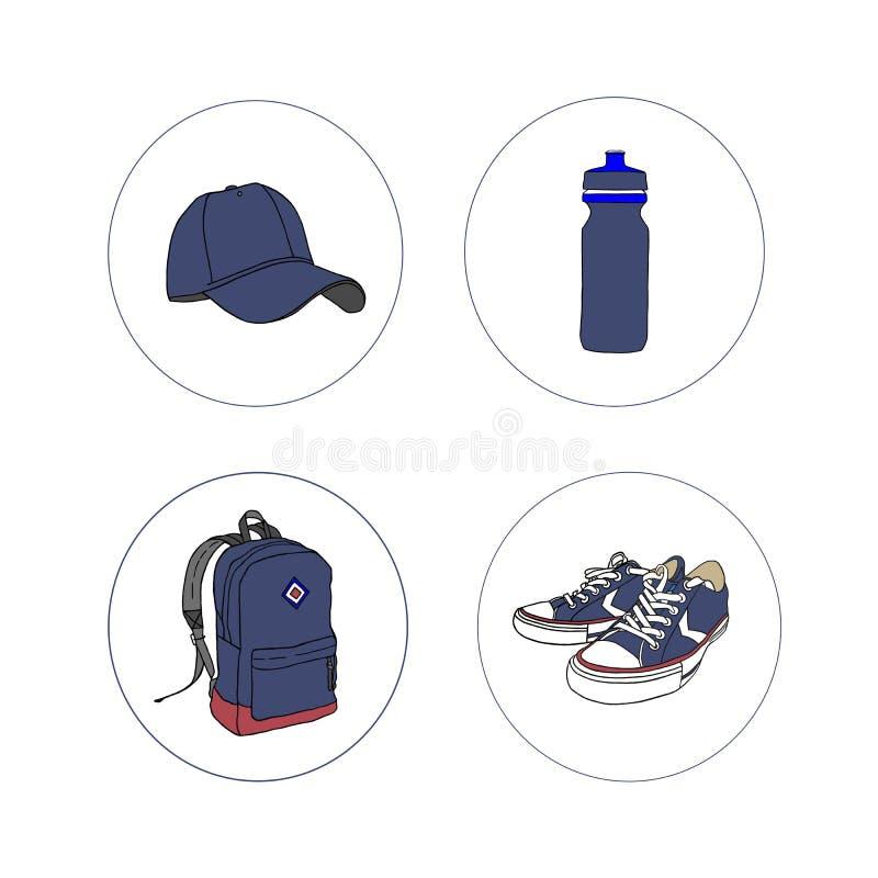 Установите для туризма спорт Значки на белой предпосылке Рюкзак и бейсбольная кепка, тапки и бутылка для воды иллюстрация штока