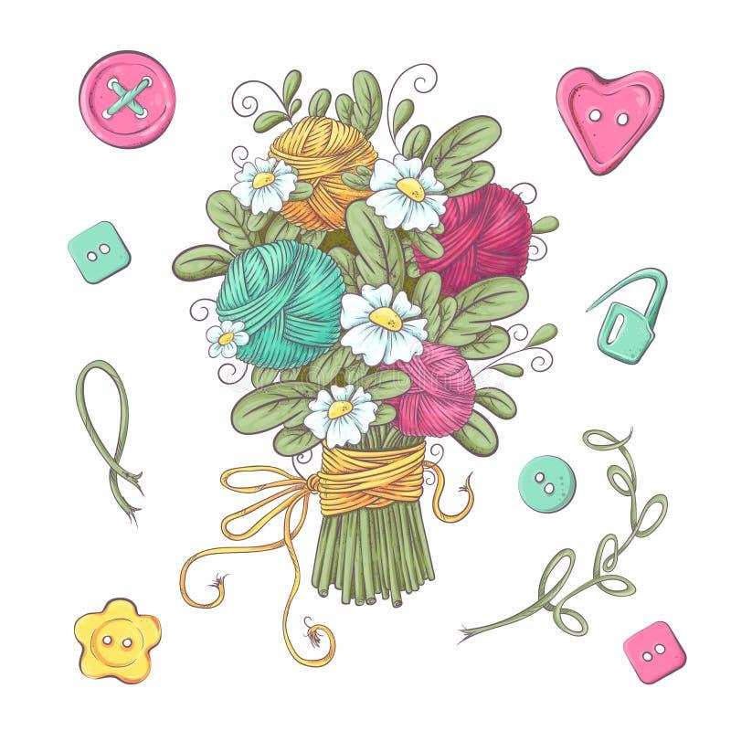 Установите для handmade связанных цветков и элементов и аксессуаров для вязать крючком и вязать иллюстрация вектора