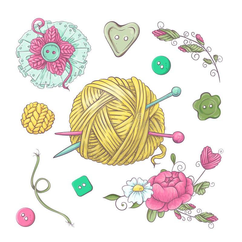 Установите для handmade связанных цветков и элементов и аксессуаров для вязать крючком и вязать бесплатная иллюстрация