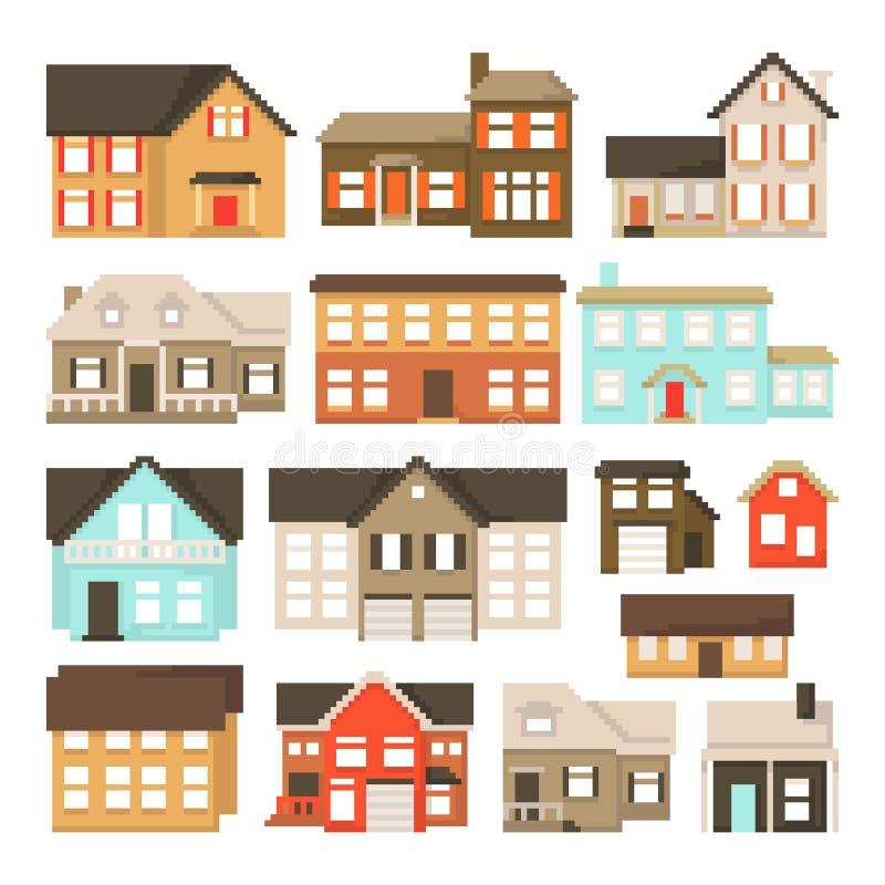 Установите домов пиксела изолированных на белой предпосылке Графики для игр бит 8 Иллюстрация вектора в стиле искусства пиксела иллюстрация штока