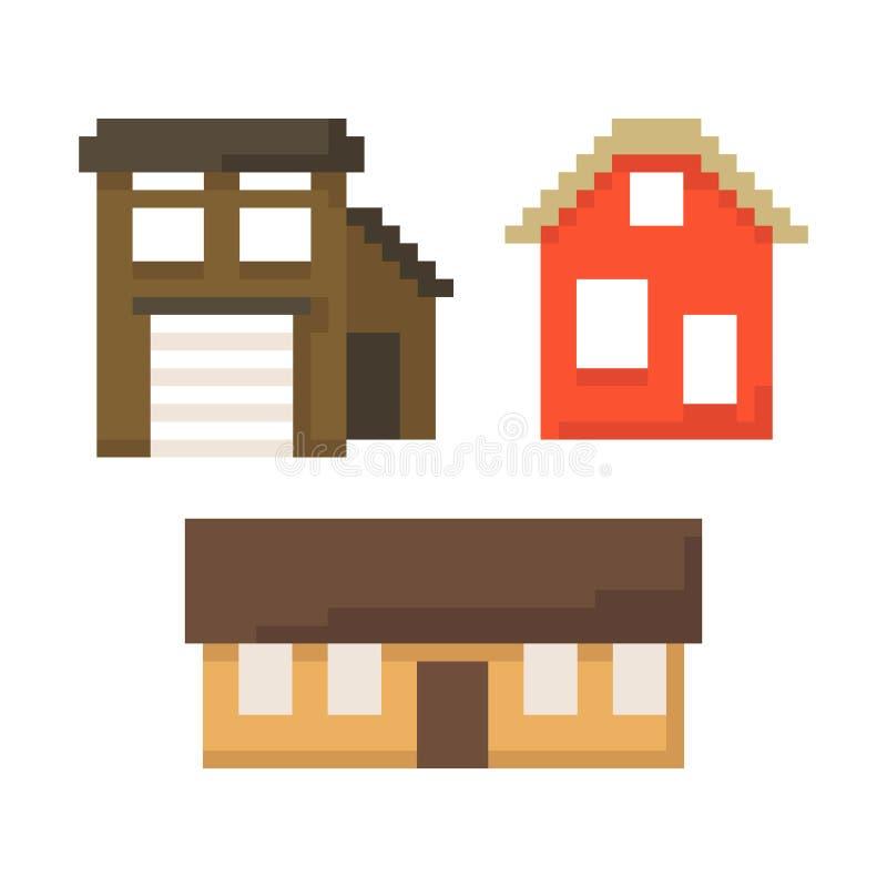 Установите домов пиксела изолированных на белой предпосылке Графики для игр бит 8 Иллюстрация вектора в стиле искусства пиксела иллюстрация вектора