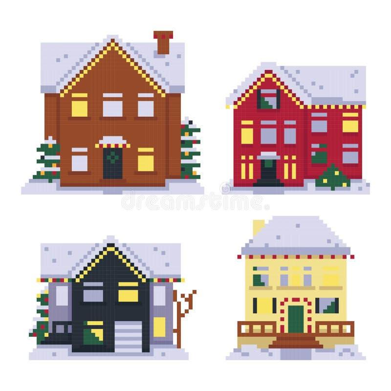 Установите домов пиксела изолированных на белой предпосылке Оформление рождества r Графики для игр бит 8 Иллюстрация вектора в пи бесплатная иллюстрация