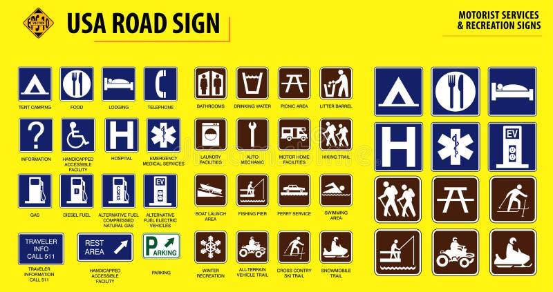 Установите дорожного знака США иллюстрация штока