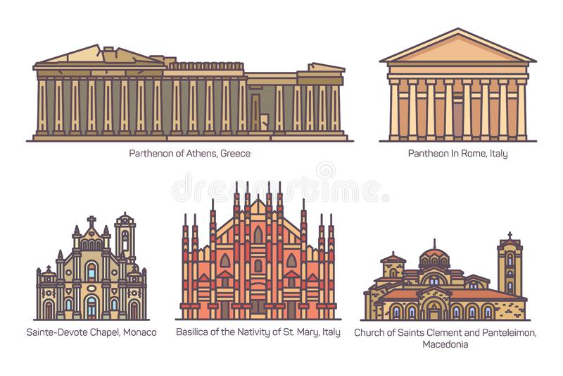 Установите европейских зданий вероисповедания в цвете иллюстрация вектора