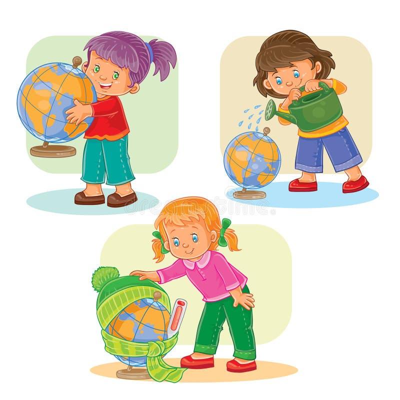 Установите девушек значков малых играя с глобусом иллюстрация вектора
