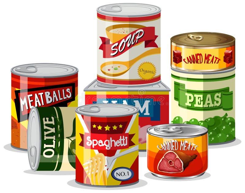 Установите еды олова иллюстрация вектора