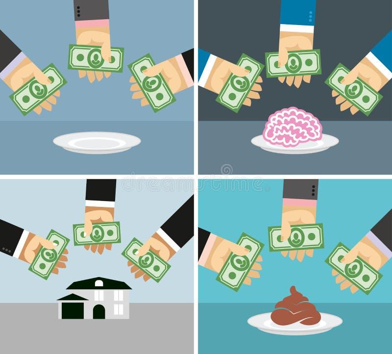 Установите деньги и руки Продающ и покупающ дом, мозги, дерьмо иллюстрация вектора
