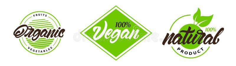 Установите естественных органических ярлыков, логотипов Vegan, естественный в помечать буквами стиль r иллюстрация вектора