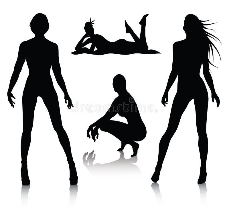 установите женщину силуэта стоковое фото rf