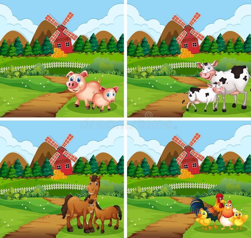 Установите животного на сельскохозяйственных угодьях бесплатная иллюстрация