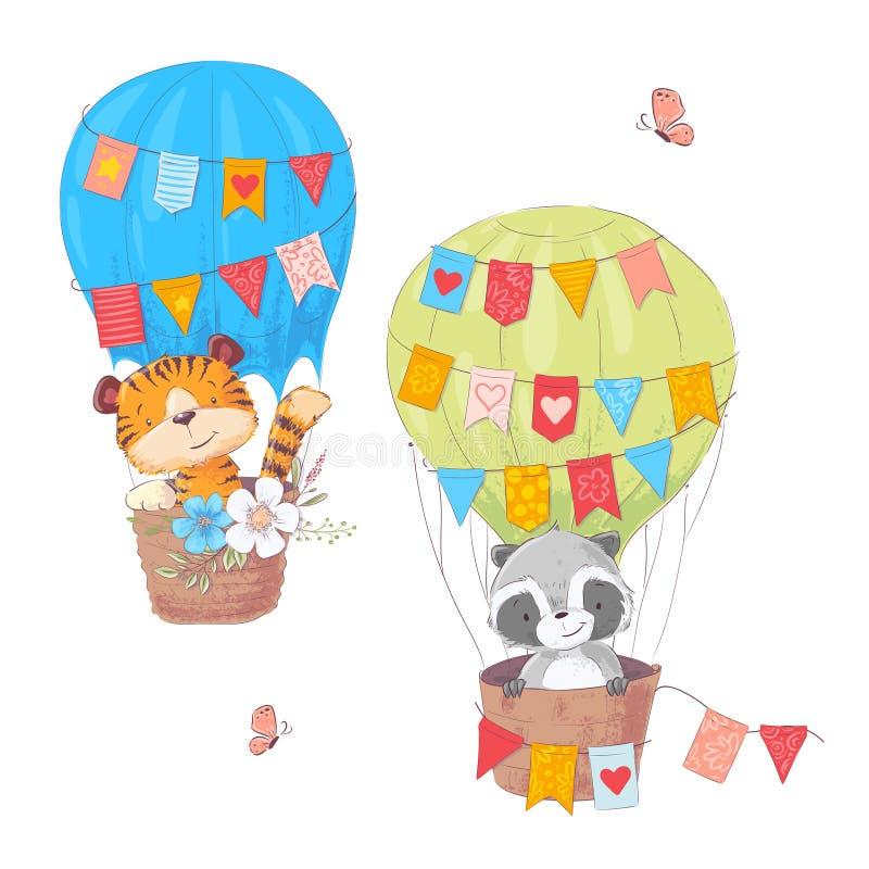 Установите животных льва и енота мультфильма милых в воздушном шаре с цветками и флагами для иллюстрации детей r иллюстрация вектора