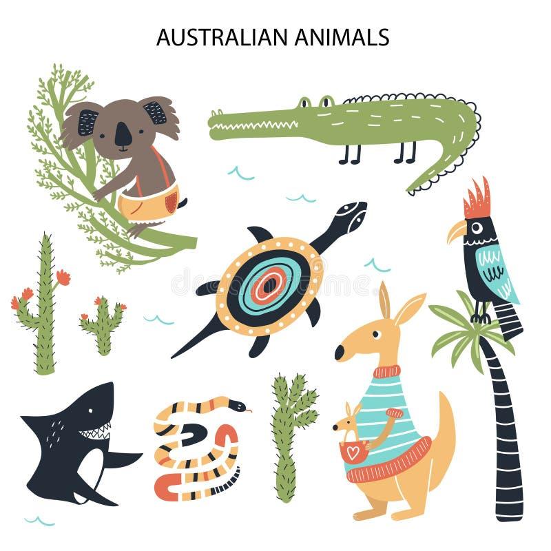 Установите животных различного мультфильма австралийских Милые handdrawn дети закрепляют коллекцию произведений искусства r бесплатная иллюстрация
