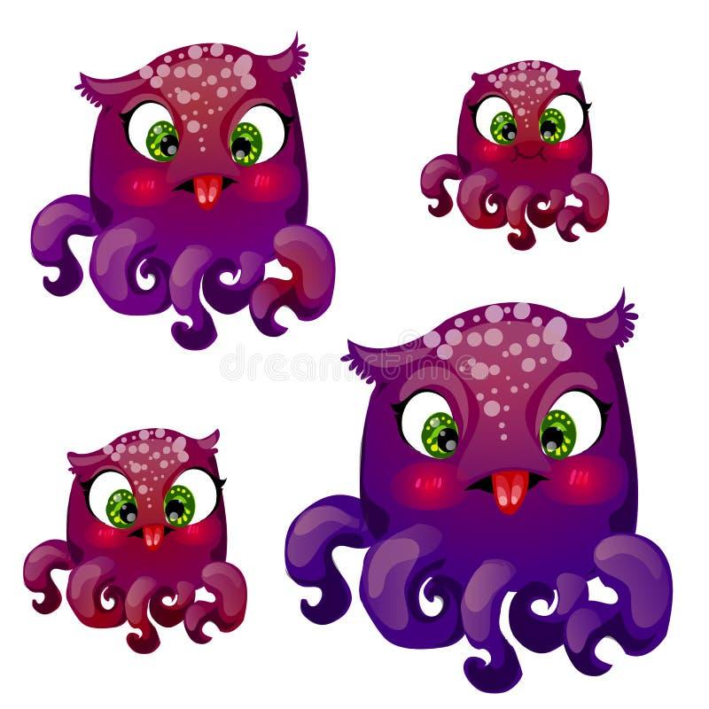 Установите животных фантазии шаржа смешных Гибрид осьминога и сычей изолированных на белой предпосылке также вектор иллюстрации п иллюстрация вектора