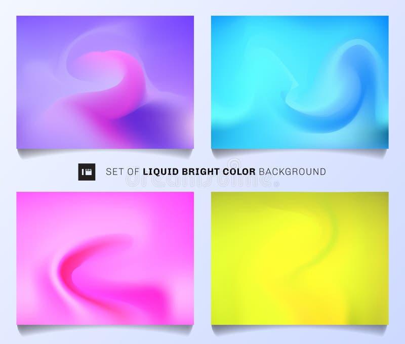 Установите жидкостной яркой предпосылки цвета Современный конспект покрывает шаблон дизайна плана Яркий градиент olors вы можете  бесплатная иллюстрация