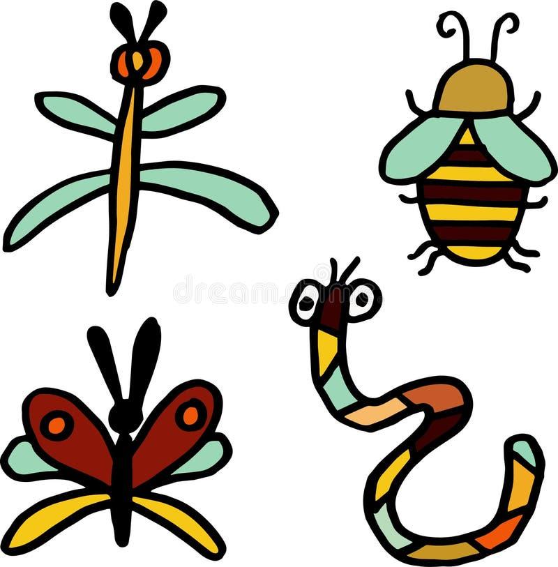 Установите 4 жильцов осени Насекомые: пчела, dragonfly, бабочка и червь на изолированной белой предпосылке иллюстрация вектора