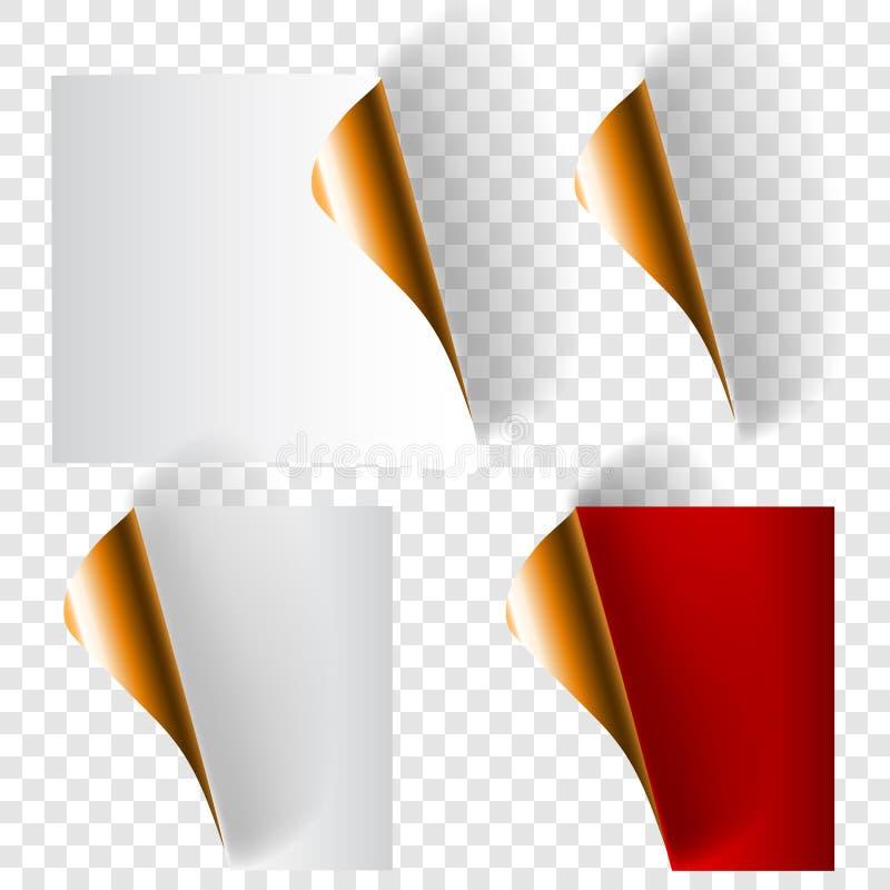 Установите завитых бумажных углов бесплатная иллюстрация