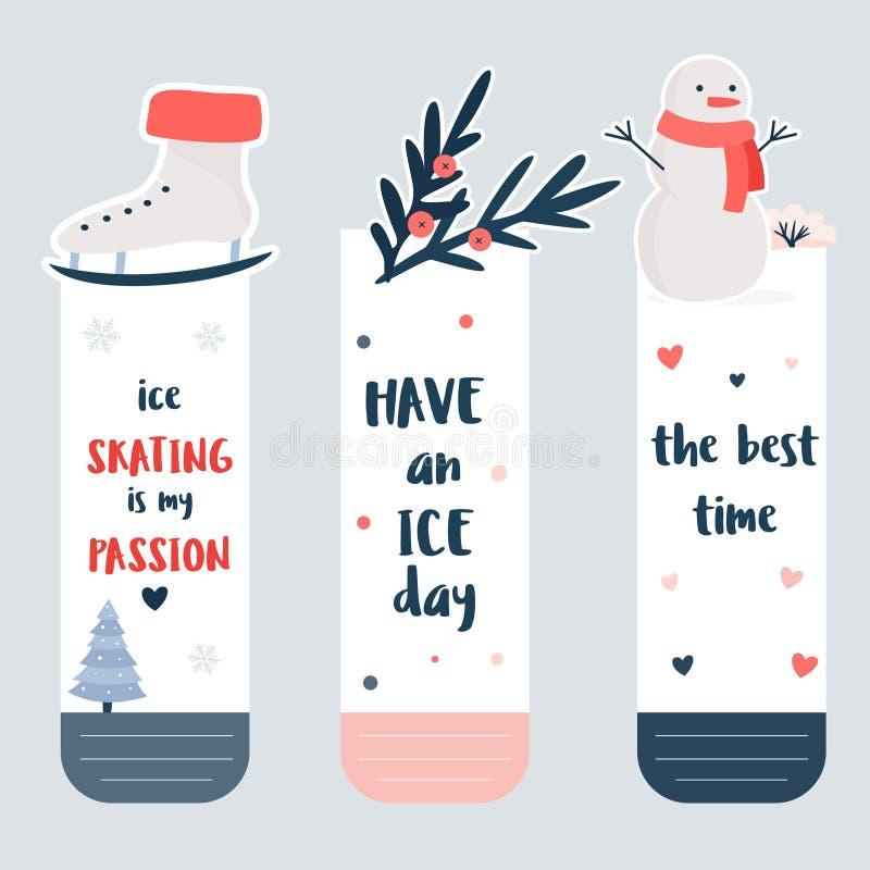 Установите закладок с элементами спорт зимы бесплатная иллюстрация