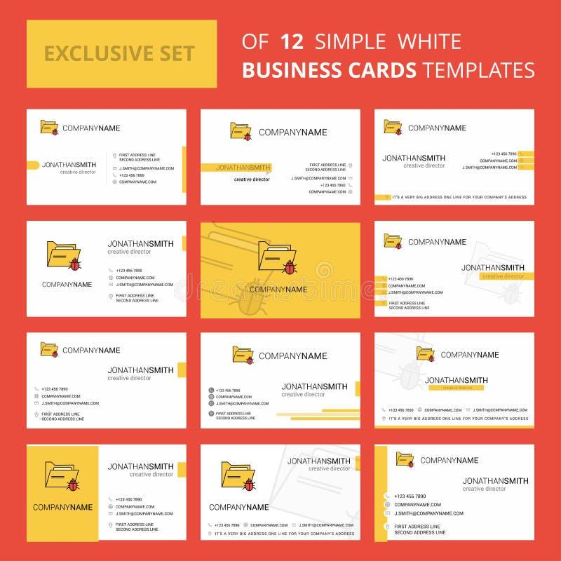 Установите 12 зараженного шаблона карты Busienss папки творческого Предпосылка Editable творческие логотип и карта посещения иллюстрация штока
