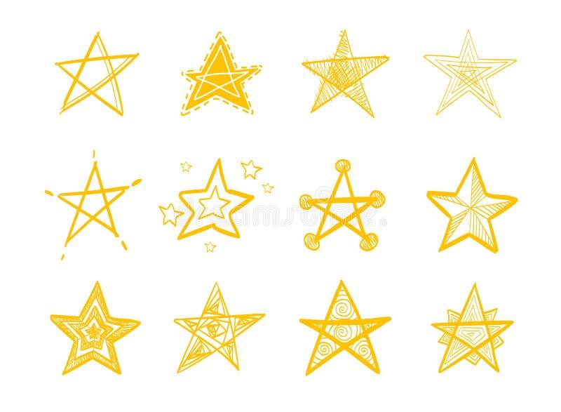 Установите звезд руки вычерченных иллюстрация вектора