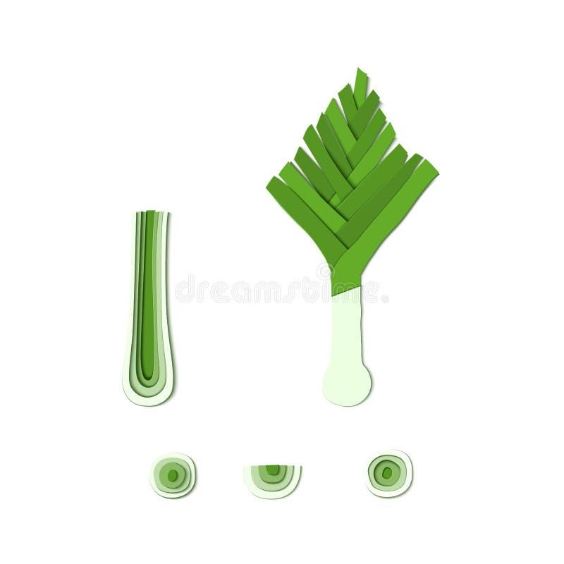 Установите зеленого стиля отрезка бумаги лук-порея Овощ Origami изолированный на белой предпосылке Собрание слоев лука отрезало и иллюстрация штока