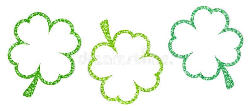 Установите зеленого цвета 3 кадр Shamrocks сверкная иллюстрация вектора